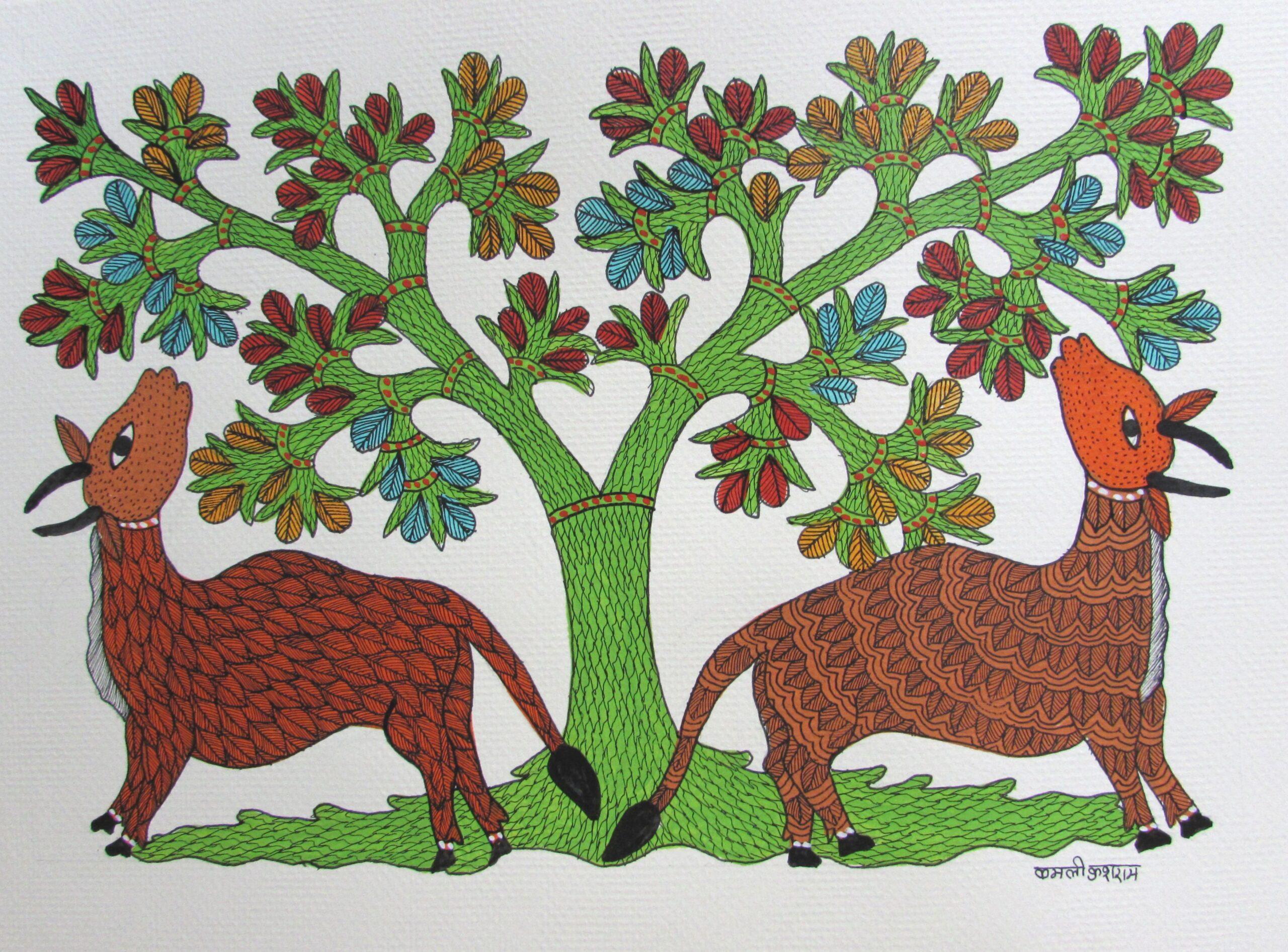 木を守る夫婦牛