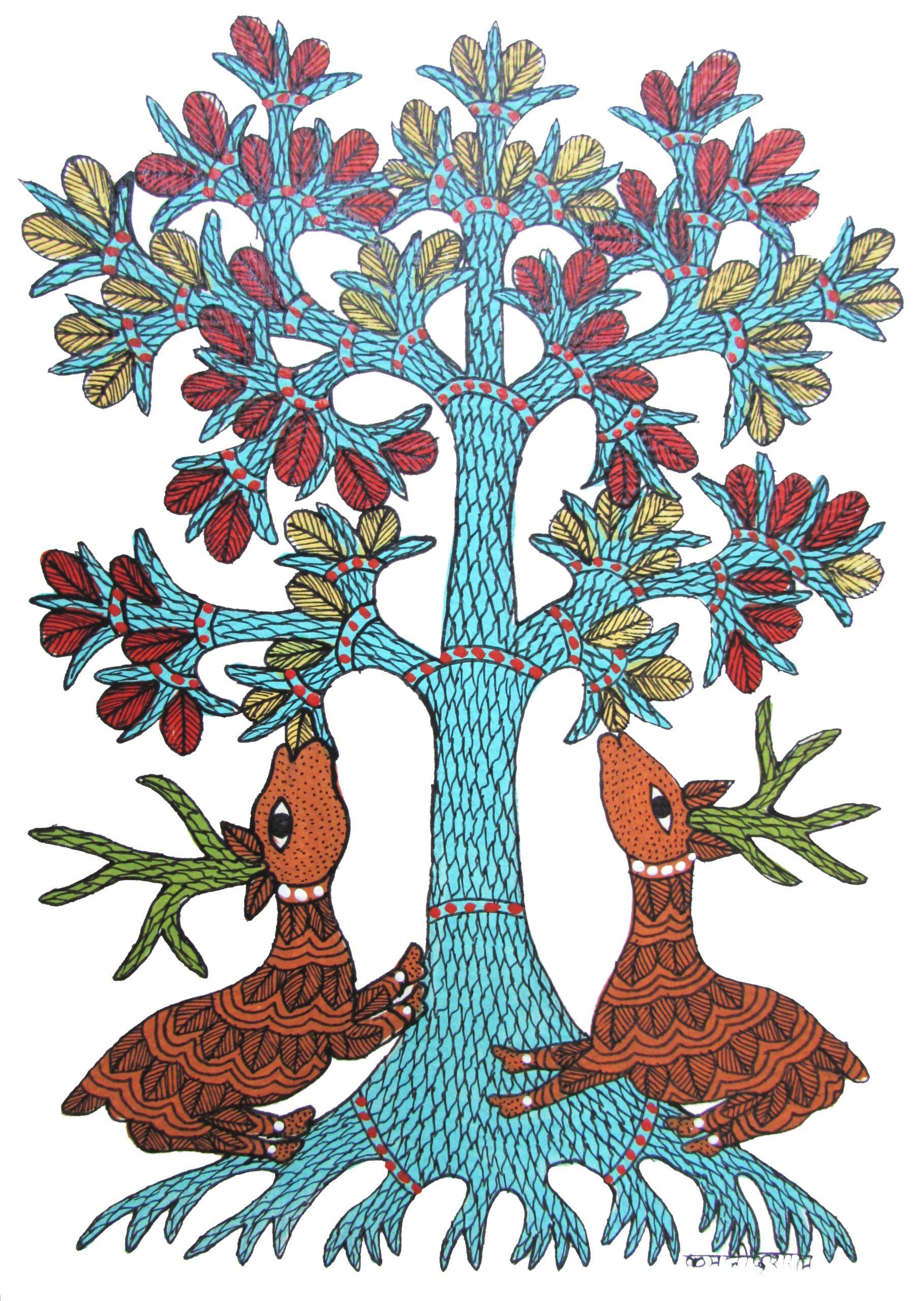木を守る夫婦鹿